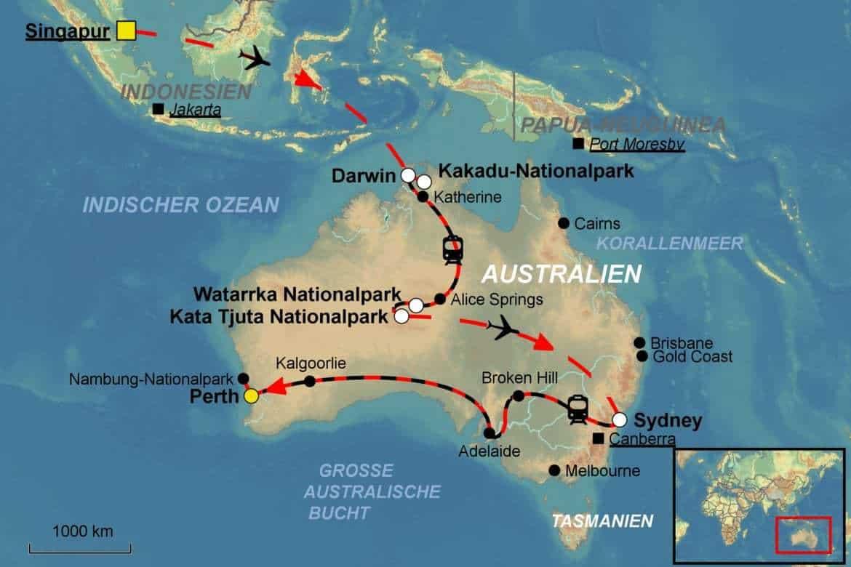 stepmap karte australien bahnreise mit den legendaeren zuegen the gan und indian pacific durch. Black Bedroom Furniture Sets. Home Design Ideas