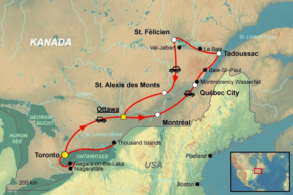 Quebec Karte.Kanada Mietwagenrundreise Geschichte Natur Spezialist Jet Reisen
